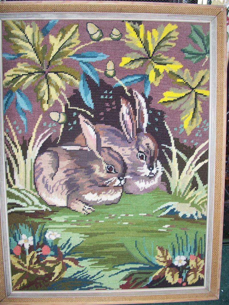 Rabbit needlepoint