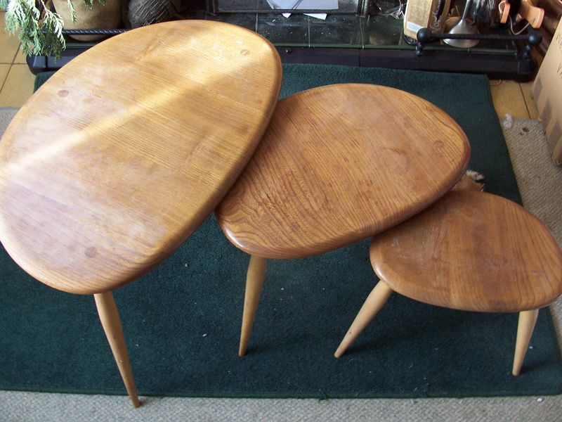 Ercol pebble tables - uncleaned