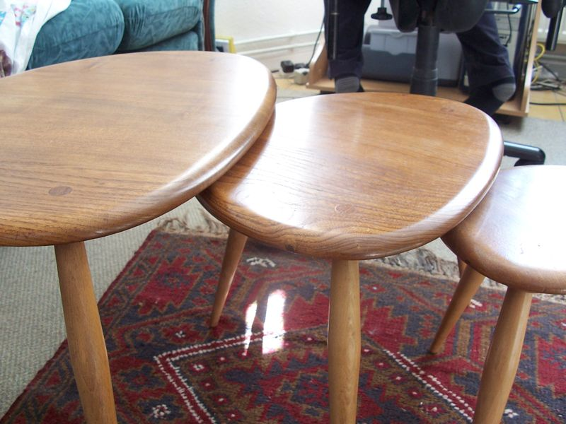 Ercol pebbe tables - cleaned
