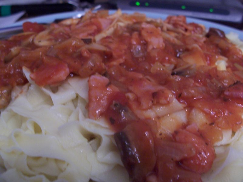 Homemade pasta with sauce