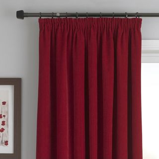 Red chenille curtains