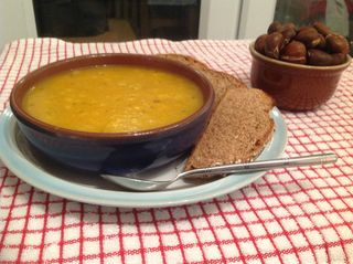 Butternut squash soup:soda bread and chestnuts